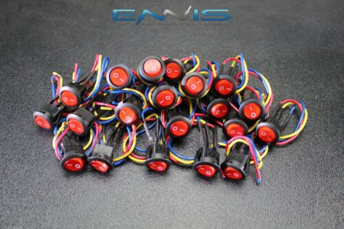 20 PCS ROCKER SWITCH ON OFF RED TOGGLE LED 12V 16 AMP 3 PIN IS-EC-IR1216RED