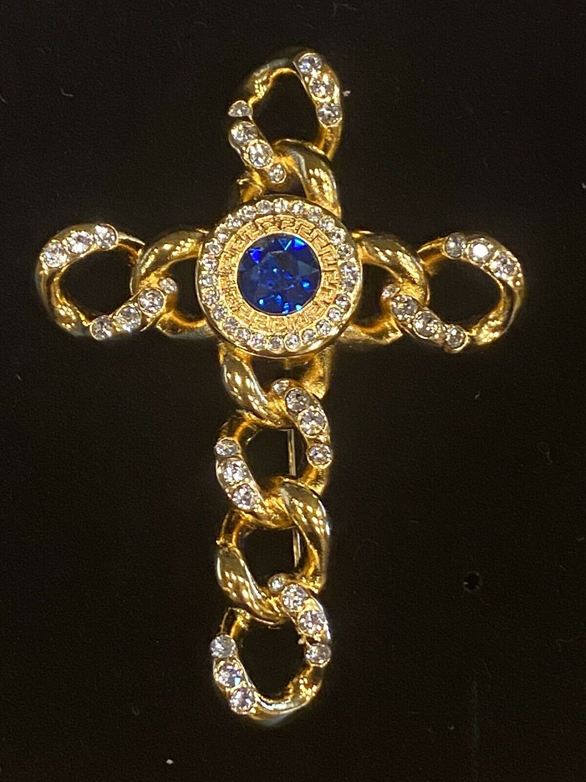 SIGNED VINTAGE GOLD PLATED GIANNI VERSACE CRYSTAL… - image 9