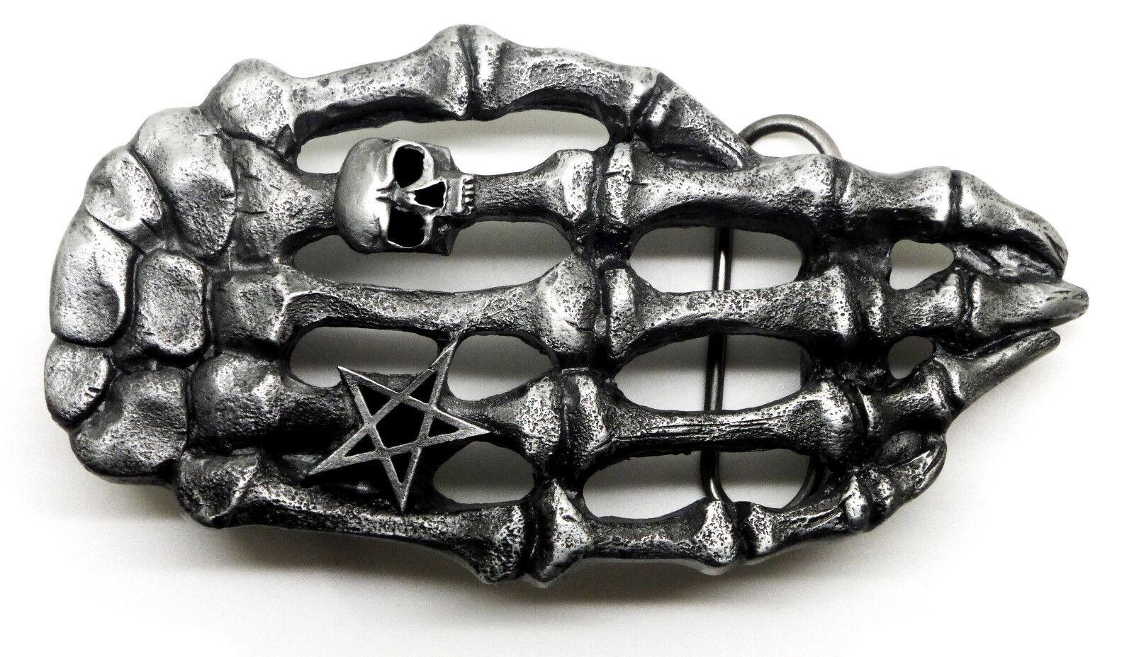Skull Belt Buckle Skeleton Hand Ring & Pentagram Gothic Bones Authentic Pagan