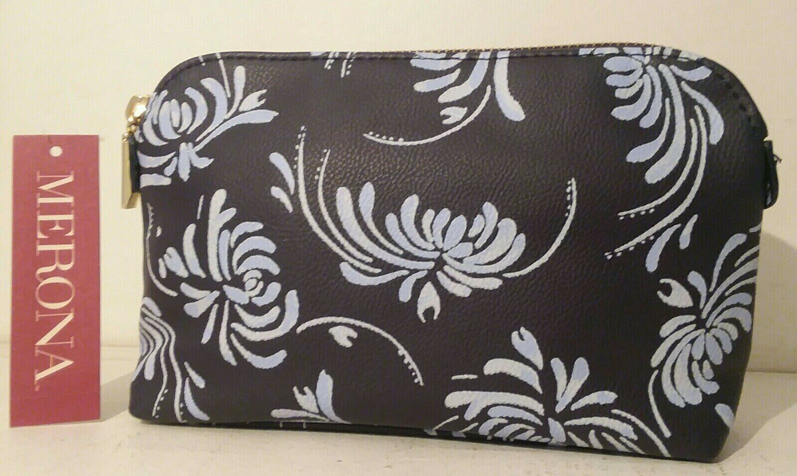 Merona Zip Make-up Navy Blue Floral Brand New with Tags Free Shipping