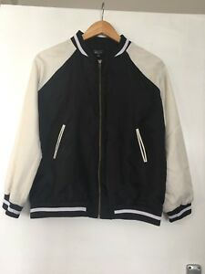 774b09c15 Details about New Look 9-15 Girls Black White Bomber Jacket 14-15 Years  Lightweight Summer