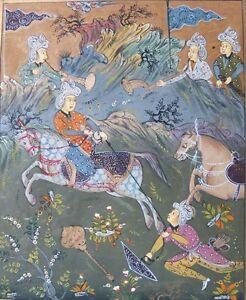 Jagdszene-Persische-Miniaturmalerei-18-Jhd