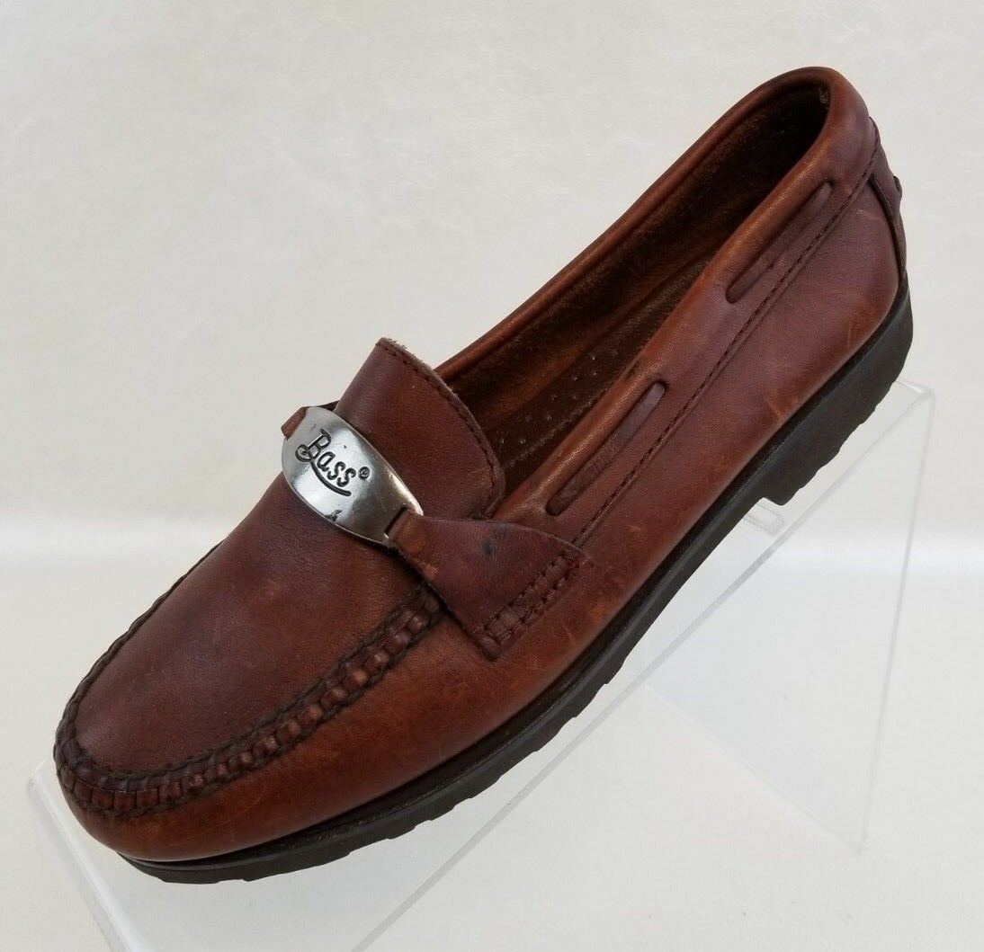 Bass Loafers Moc Toe Logo Buckle Womens Brown Leather Slip On shoes Size 6M