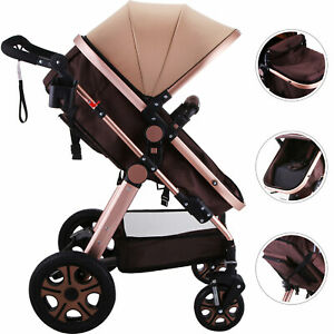3-in-1-Luxury-Foldable-Baby-Stroller-High-View-Pram-Pushchair-Bassinet-Car
