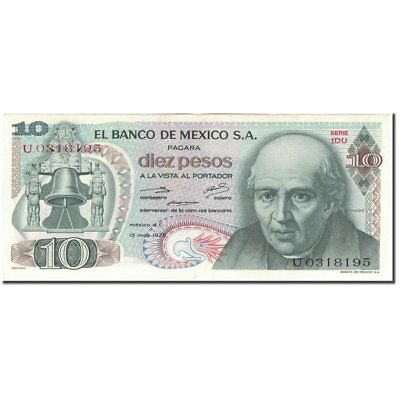 Bright And Translucent In Appearance Km:63h Mexico 55-58 Banknote 1975-05-15 #594304 Au 10 Pesos