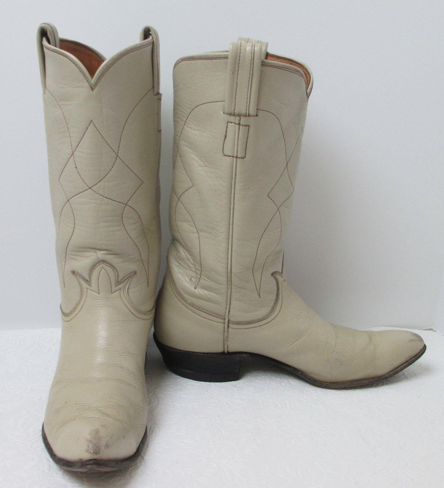 Women's Vintage 50's Tony Lama 4149 Bone Leather Cowboy Boots Sz 5.5