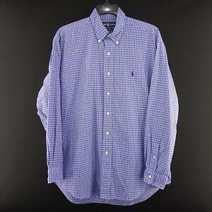 Men-Polo-Ralph-Lauren-Blake-Blue-Plaid-Oxford-Golf-Dress-Shirt-Size-Large-Casual
