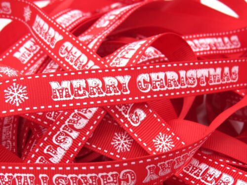 Bertie/'s Bows Vintage Font Merry Christmas Ribbon 5 Styles Multi Save