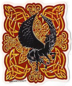RARE BLACK PEGASUS HORSE GOLD CELTIC Knotwork PAGAN NORSE Vinyl STICKER/DECAL