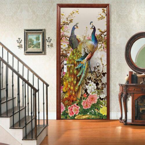 Peacock Flowers 3D Waterproof Mural Decal Cover Wall or Fridge STICKER Details about  /Door