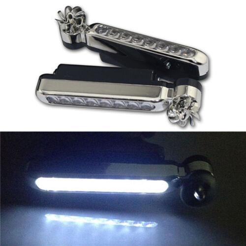 2x Wind Powered 8 LED Car DRL Daytime Running Light Fog Head Lamp Bulb White 12V