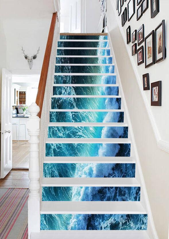 3D Blau waves Stair Risers Decoration Photo Mural Vinyl Decal WandPapier US