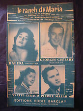 Partitura El rancho de Maria Dalida Guétary Giraud Malar Music Sheet 1957
