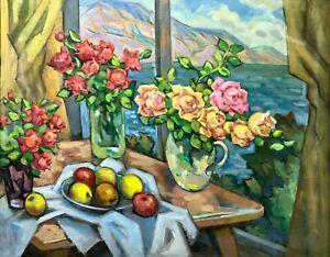painting art socrealism vintage still life old Rose bouquet sea apple flowers