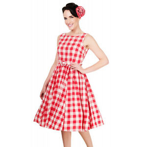 Image Is Loading GINGHAM DRESS 1950s Style Rockabilly Retro Checkered Summer