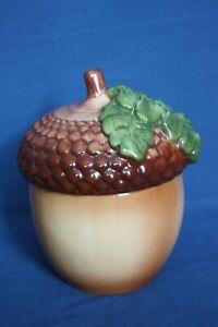 Tele-Flora-Gift-Acorn-Cookie-Jar-Brown-with-Lid-Nut-Jar-Goodies-Snacks-8-034-Tall