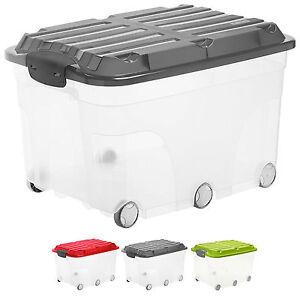 Rollbox Aufbewahrungsbox Spielzeugkiste Rollkiste Kasten Deckel transparent 57 L