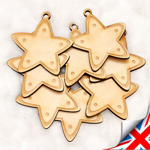 Details About Christmas Xmas Wooden Decoration Gingerbread Stars Christmas Tree