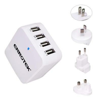 Ennotek 4-Port Fast USB Wall Charger Multi Plug UK EU US AU AC Travel Adapter