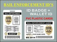 Bail Enforcement Agent Id's (badge + Wallet Card) Custom W/ Your Own Info - Pvc