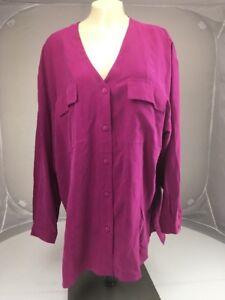 Vtg-SOSTANZA-Tunic-button-LS-dressy-blouse-top-L-100-Silk-Purple