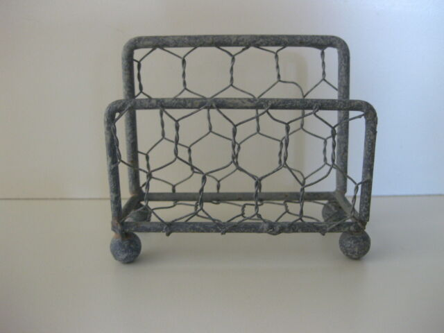 chicken wire metal decorative business card display holder desk country office - Business Card Display Holder