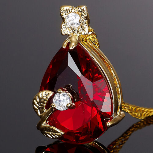 Stunning Pear Cut Red Ruby Gold Tone Pendant Necklace Lady Fashion Jewelry