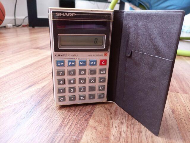 Vintage Sharp Elsi Mate EL-326H Grey Handheld Solar Cell Calculator w/ Flip Case