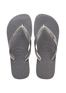 HAVAIANAS Zehentrenner Badeschuhe TOP TIRAS steel grey grau silber Thongs NEU