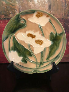 Antique-Vintage-French-Art-Pottery-MAJOLICA-Floral-Decor-Plate-Dish-Teal-MINT
