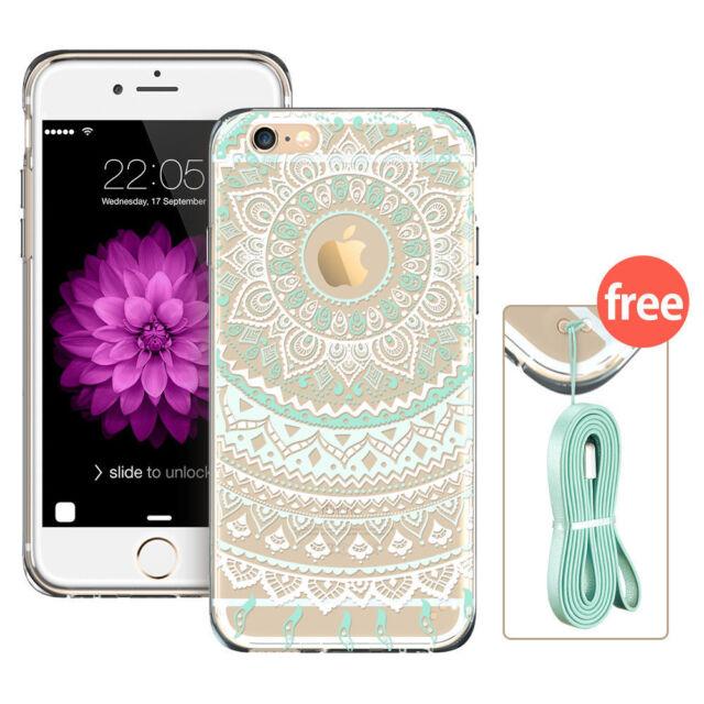 Soft TPU Bumper Transparent Henna Pattern Girl Case For iPhone6/ 6Plus/6s/6sPlus