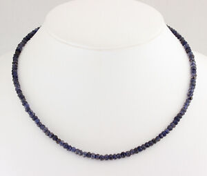 Iolite Necklace Precious Stone Faceted Blue Rondelle Gift New 17 11/16in