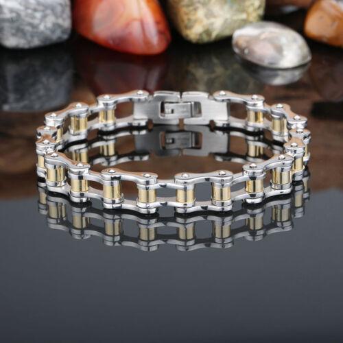 2-Tone 10 mm Hommes Femmes Bracelet en Acier Inoxydable Moto Chaîne Fashion Bracelet