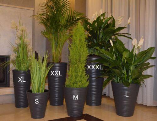 XL+XXL+3XL Blumenkübel Welle Slim Rund Pflanzkübel 3D Effekt Blumentopf SET3