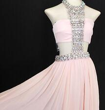 bebe Dress Maxi Bandeau Floating Jeweled light Peach Chiffon Skirt Size 0