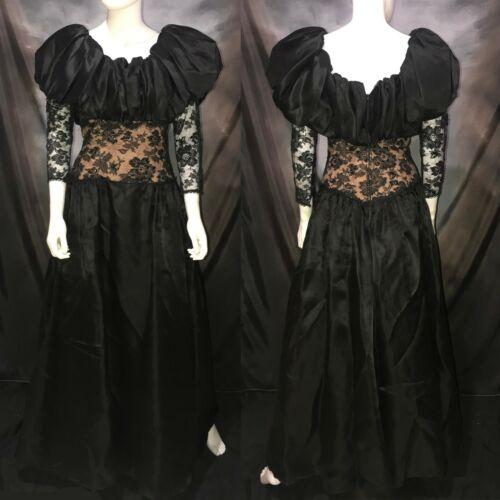 Vintage JARIN Ruben Panis Black Satin & Lace Prom