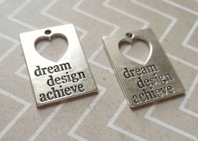 2 Quote Pendants Antiqued Silver Word Charms DREAM DESIGN ACHIEVE Pendants