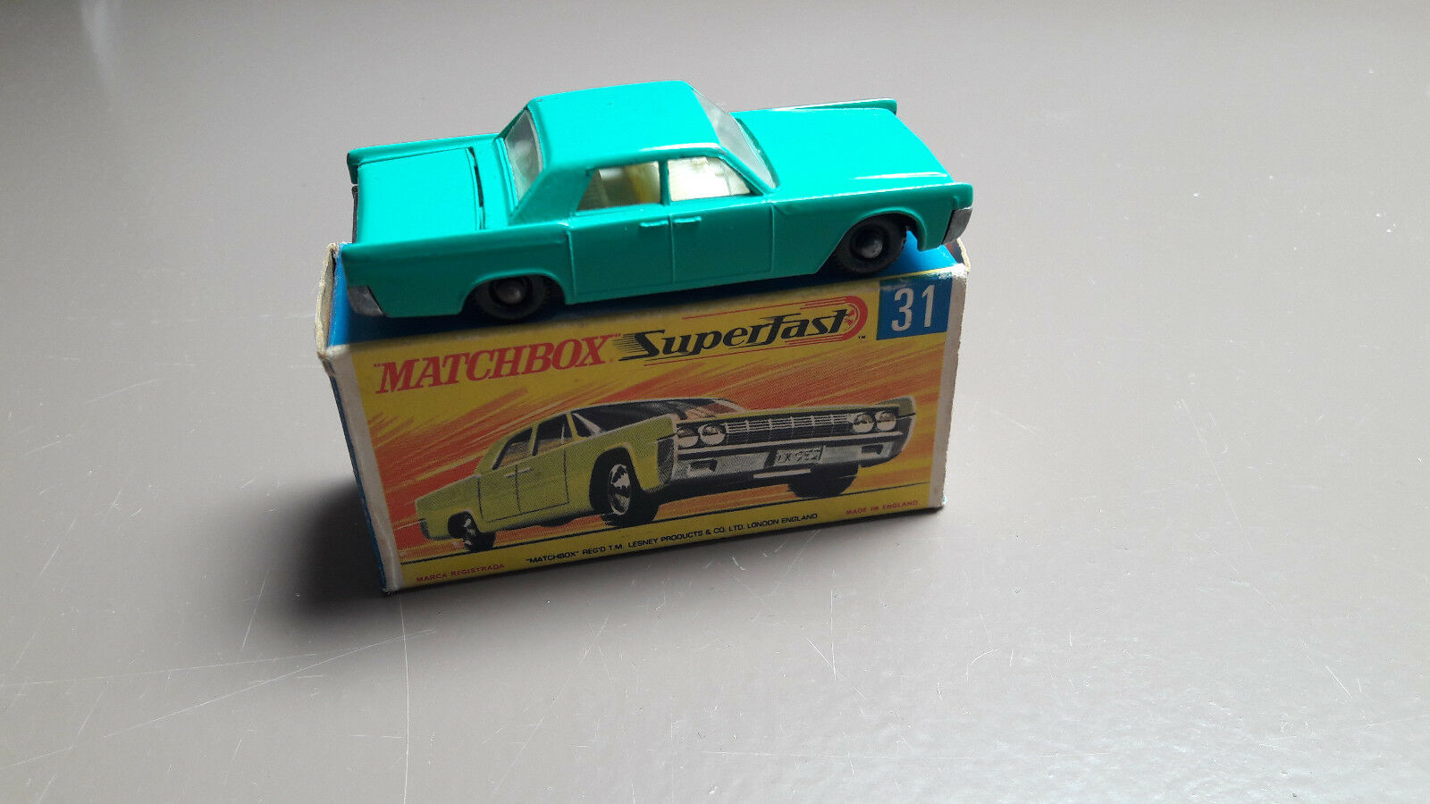 Matchbox Lesney 31c Lincoln Continental Green Original Boxed VNM