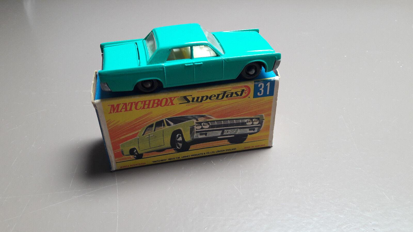 MATCHBOX LESNEY 31 C Lincoln Continental vert Original en Boîte VNM