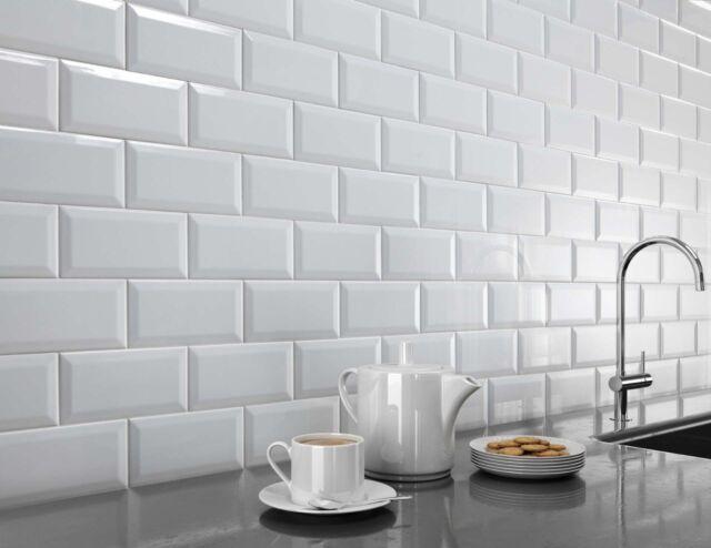 Celery Green Gloss Metro Victorian Bevelled Brick Kitchen Wall Tiles 10 X 20cm For Sale Ebay