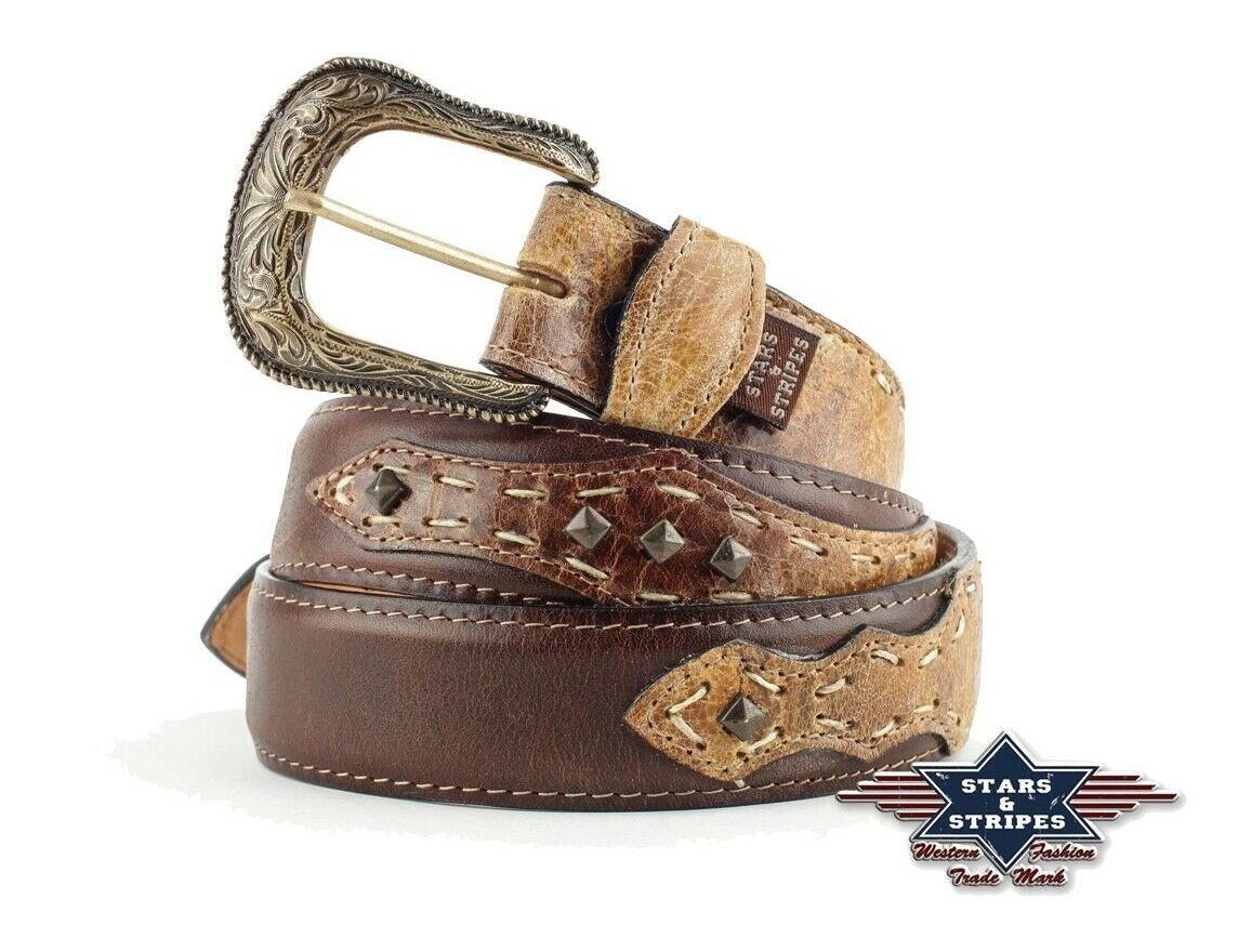Gürtel Ledergürtel Westerngürtel Cowboygürtel Country Leder Unisex »WG204« Braun