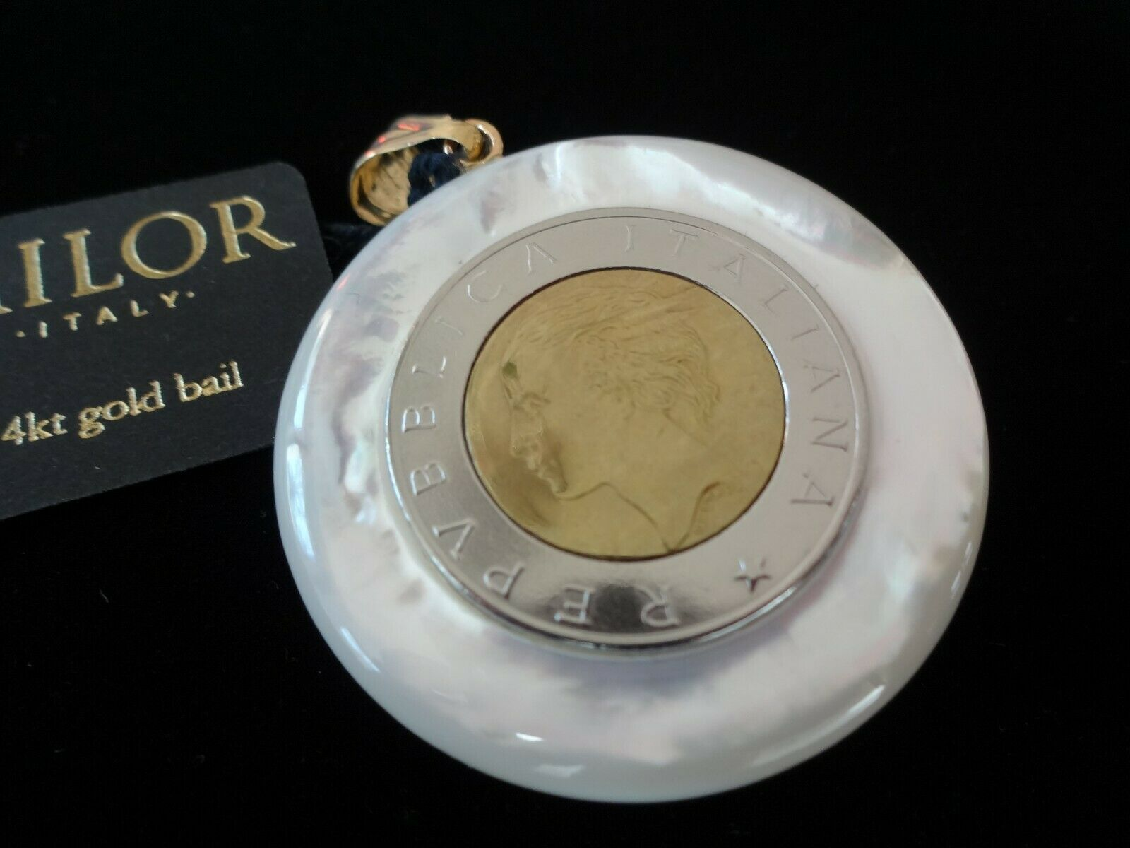 MILOR 14K Yellow gold Bail Mother of Pearl  Round Italian Coin Pendant NWT