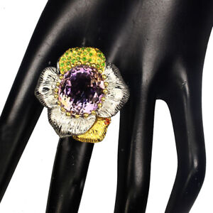 Handmade-Oval-Ametrine-20-81ct-Chrome-Diopside-Sapphire-925-Sterling-Silver-Ring