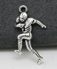 Tibetan silver charm pendant Race walking athletes fit DIY 10pcs 30x15mm 1.6g
