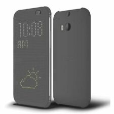 100% Authentic Genuine OEM HTC One M8 Dot View Flip Case Cover Grey NEW