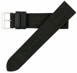18mm-Herren-Vintage-hochwertige-Canvas-Black-Watch-Band-Strap-MS850-Hadley-Roma