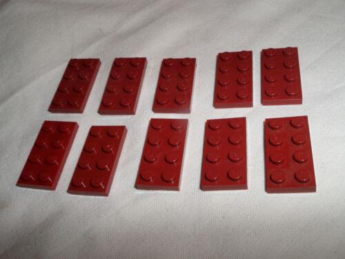 10x 3020 piastra di LEGO 2x4 ROSSO SCURO DARK RED USATO 4248803 4528320 4539071