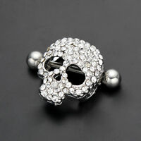 Skull Nipple Ring Pair 2 Jewelry Clear Gem Stainless Steel Shield
