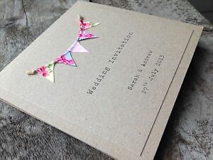 Pocketfold Bunting Wedding Invitation Rustic Vintage Shabby Chic