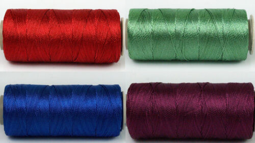 Polyester Embroidery Thread Set Size 12 3ply thread 4 x 25g Spools Jewel Tones